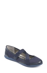 Me Too 'Heather' Cross Strap Ballet Flat Women Sapphire Fabric Navy Leather