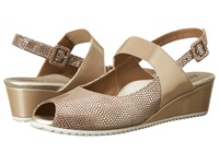 Anyi Lu Carina Silver Pois Suede Latte Patent Women's Wedge Shoes