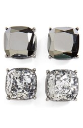 Women's Bp. Square Stud Earrings Set Of 2 Hematite Silver