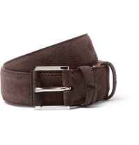 Loro Piana 3.5Cm Taupe Maine Alligator Trimmed Suede Belt Taupe