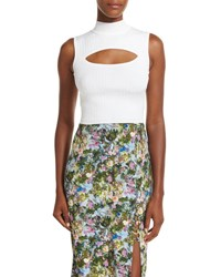 Cushnie Et Ochs Cutout Sleeveless Mock Neck Top White
