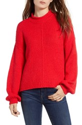 Bp. Balloon Sleeve Sweater Red Chinoise