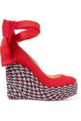 Christian Louboutin Barbaria Zeppa 130 Canvas Wedge Espadrilles Red Gbp