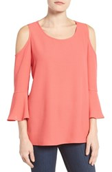 Pleione Women's Cold Shoulder Bell Sleeve Blouse Coral