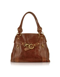 Chiarugi Handmade Brown Genuine Leather Tote Bag Dark Brown