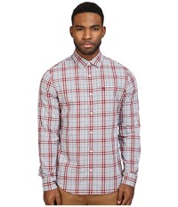 Original Penguin P55 Plaid Pomegranate Men's Long Sleeve Button Up Pink