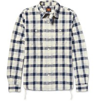 The Workers Club Woven Patchwork Cotton Shirt Navy