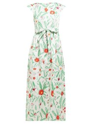Vika Gazinskaya Belted Floral Print Satin Maxi Dress Ivory Multi