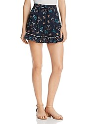 The Fifth Label Skyward Ruffled Hem Floral Print Mini Shorts Navy Wildflower