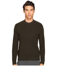 The Kooples Mercerized Cotton And Leather Sweater Khaki