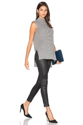 Michael Stars Sleeveless Mock Neck Cabled Tunic Grey