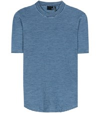 Ag Jeans Cone Striped Cotton T Shirt Blue