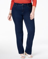 Charter Club Plus Size Lexington Tummy Control Straight Leg Jeans Greenwich Wash