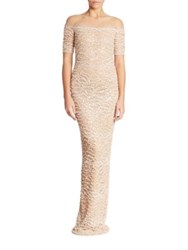 Pamella Roland Embellished Lace Gown Champagne