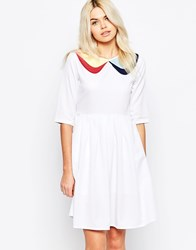 The Whitepepper The White Pepper 3 4 Sleeve Skater Dress With Contrast Collar White