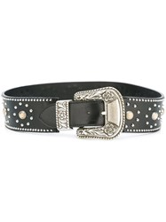 Golden Goose Deluxe Brand Western Buckle Belt Black