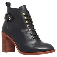 Kg By Kurt Geiger Sweet Leather Mid Heel Ankle Boots Black