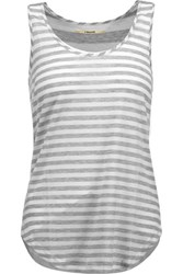 J Brand Bell Striped Stretch Jersey Tank Light Gray