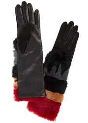 Agnelle Sylvia Leather And Rabbit Fur Gloves Multicoloured