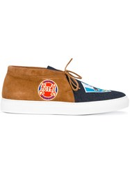 Joshua Sanders Denim Front Slip On Sneakers Brown