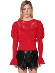 Self Portrait Techno Knit Lace Top Red