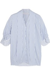 J.W.Anderson Ruffled Striped Cotton Shirt Blue