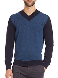 Canali Colorblocked Merino Wool Sweater Blue