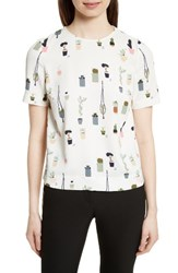 Ted Baker Women's London Wepster Pleat Back Print Top Ivory