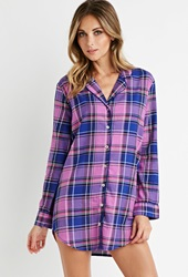 Forever 21 Tartan Plaid Button Down Nightdress Pink Blue
