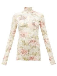 Paco Rabanne Rose Print Ribbed Cotton Blend Top Multi