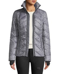 Blanc Noir Metallic Zip Front Quilted Puffer Jacket With Reflective Trim Medium Gray