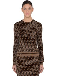 Fendi Logo Intarsia Knit Sweater Tobacco