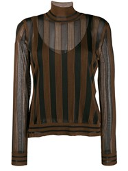 Fendi Pequin Striped High Neck Jumper 60