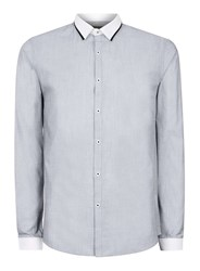 Topman Grey And White Chambray Slim Fit Dress Shirt