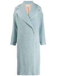Semicouture Double Breasted Textured Coat Blue