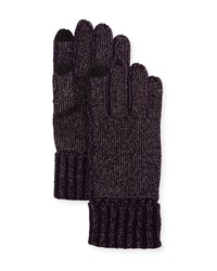 Sofia Cashmere Lurex Knit Touch Screen Gloves Purple