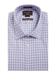 Black Brown Gingham Cotton Dress Shirt Purple