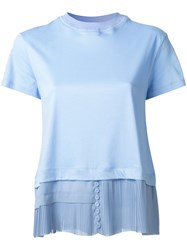 Carven Layered Pleated T Shirt Blue