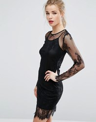 New Look Sheer Lace Bodycon Dress Black
