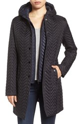 Larry Levine Women's Two Tone Hooded Bib Quilted Coat