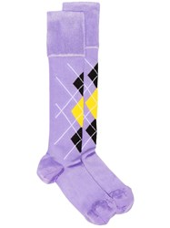 Versace Checked High Socks Pink And Purple