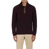 Fioroni Men's Suede Trimmed Cashmere Mock Turtleneck Sweater Purple