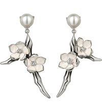 Shaun Leane Cherry Blossom Sterling Silver Diamond And Freshwater Pearl Earrings