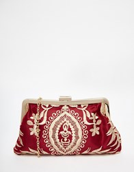 Chi Chi London Chi Chi Clip Top Clutch Bag In Red With Gold Embroidery Multi