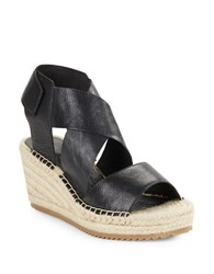 Eileen Fisher Willow Tumbled Leather Espadrilles Platform Wedge Sandals Black
