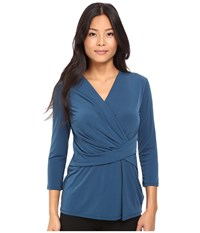Ellen Tracy 3 4 Sleeve Twist Top Autumn Lake Women's Blouse Blue