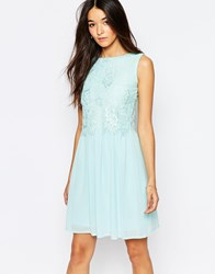 Club L Skater Dress With Eyelash Lace Overlay Mint Green