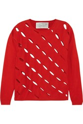 Victor Glemaud Cutout Cotton And Cashmere Blend Sweater Red