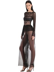 Pierre Mantoux Gaia Paneled Sheer Lace And Tulle Jumpsuit