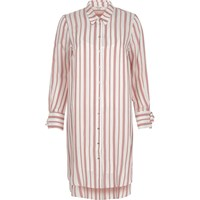 River Island Womens Red Stripe Long Sleeve Shirt Dress